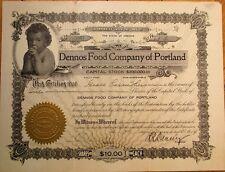 Dennos Food Company of Portland, Oregon 1914 Stock Certificate w/Baby Vignette