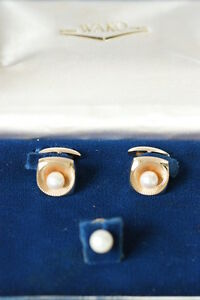 Rare Japan Ginza Wako Tokyo Pearl 14K Solid Gold Cufflinks & 18K Tie Pin Set