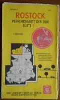 Verkehrskarte der DDR Blatt 1 Rostock VEB Landkartenverlag 1973 Ostalgie