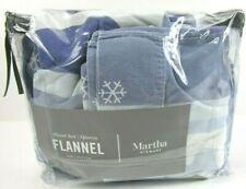 Martha Stewart QUEEN Sheet Set Winter Snow Flakes Cotton Flannel Blue White