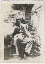 1930s Man in Suit in Garden with Japanese Paper Umbrella Snapshot