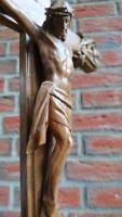 ANTIQUE BLACK FOREST CARVED WOOD JESUS CHRIST HOLY CRUCIFIX-CARVING-SAINT-CROSS