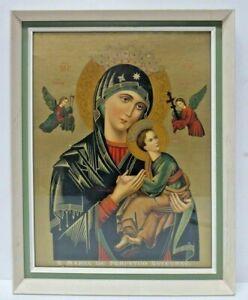 VINTAGE FRAMED GILT RELIGIOUS ICON PRINT S MARIA DE PERPETUO SUCCURSO HOLY MARY