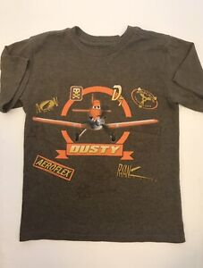 DISNEY Planes Dusty Boys Brown T-Shirt Top Size 5/6 Small S Short Sleeve
