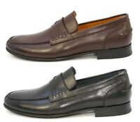 Elegante Men's Hand Made Leather Penny Loafer MADE in ITALY Dress Shoes NEW
