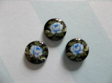 Vintage Cameos 8mm Blue Rose on Black Glass Cabochons - Qty 6