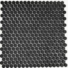 Mosaico Piastrella ECO riciclaggio vetro esagonale nero opaco 140-HX11 |1 foglio