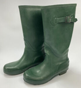 LL Bean Wellies Wellie Green Rubber Rain Boots Women's Size 7m