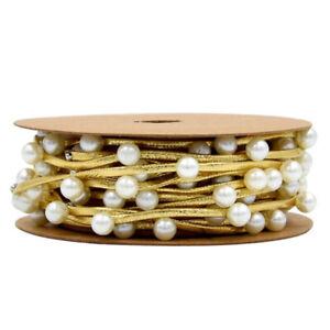 Crafts Imitation Pearls Gift Wrapping Ribbon Festival DIY Bow Christmas Decor LL