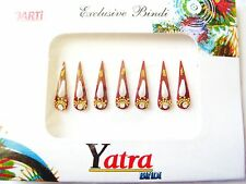 Pack of 7 Beautifully Styled Bindis in Maroon with Crystals and Beads(030)
