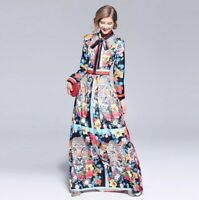Runway Floral Womens Occident Flower Printed Long Sleeve Round Collar Slim Dress