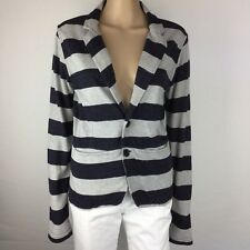 Diesel Blue & Grey Striped Jersey Blazer Size S 100% Cotton (AL5)