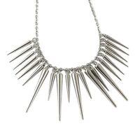 UK SPIKE CHOKER STATEMENT NECKLACE Silver Jewellery Gift Idea Steampunk Punk