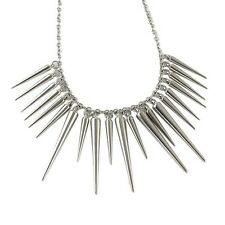 SPIKE CHOKER STATEMENT NECKLACE / Chain Silver Jewellery Gift Idea Steampunk