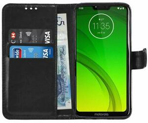 NEW BLACK WALLET LEATHER GEL STAND CASE WITH CARD SLOT FOR MOTO G6 Play UK POST