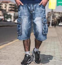 Chic Mens Summer Cargos Jeans Denim Pocket 3/4 Trousers Pants Cowboy Shorts Sz