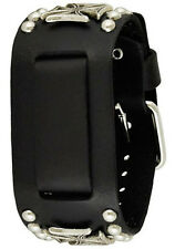 "Nemesis MIC Black Iron Cross Studded Leather Watch Cuff Band 20mm 1.5"" x 10.5"""