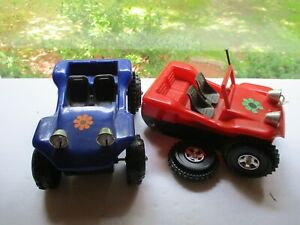 2 Plastic Dune Buggy's for Parts one blue and one red