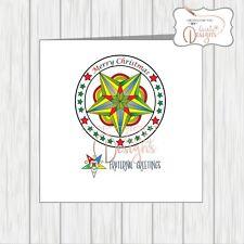 Masonic Christmas Card Masons Eastern Star Symbol Xmas Fraternal Greetings