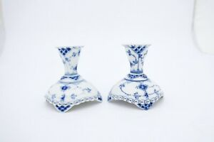 2 Candlesticks #1138 - Blue Fluted - Royal Copenhagen - Full Lace - 2nd Quality