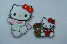 2pcs HELLO KITTY 6cm + 4cm Embroidered Iron Sew On Cloth Patch Badge Applique