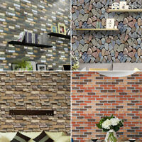 3D Brick Stone Rustic Effect Self-adhesive Wall Sticker Wallpaper Home Decor New