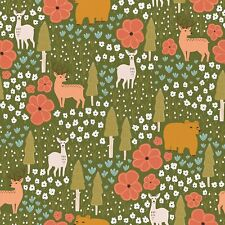 Green Vintage Camping Fabric by the yard | 100% Cotton | 1 Day Processing!|