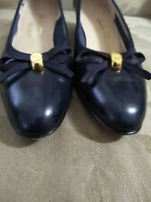 $575 SALVATORE FERRAGAMO Shoes Women's Vara Bow Black Leather Size 9.5 B