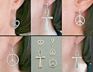 Heart Peace Love Ankh Infinity '60s BoHo Festival Earrings Clip-on Stud Fishhook