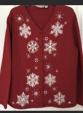Nordstroms womens red snowflake cardigan white angora Xl luxury Christmas