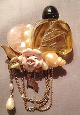 Dana Mazelow Rubinoff  Handcrafted Perfume Bottle Brooch Pin 1988