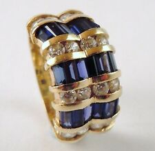 100% Genuine Vintage 14k Yellow Gold Magnificient 1.86cts Sapphire Ring Sz 5.5