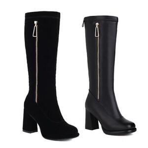 Fashion Women's Block Heel Back Zipper Round Toe Mid Calf Boots Knight Shoes L