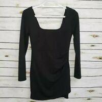 Blue Blush Womens Sheath Dress Black Stretch Short Scoop Neck Long Sleeve L New