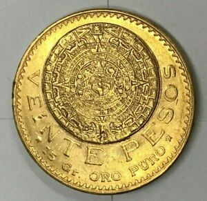 1919 Mexico 20 pesos gold coin - AZTEC MAYAN ART - Gorgeous Coin! 👀
