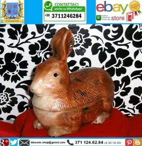 Terrina Vintage Ceramica Francese Zuppiera Caugant Cucina Forma Coniglio Marrone