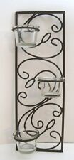 "Tealight 3 Candle Holder Wall Sconce Metal Art Decor Wrought Iron 14"" Dk Brown"