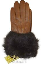 Real Fox fur, Leather Gloves (L) Women's Gloves, Warm Lined Winter Dress Gloves