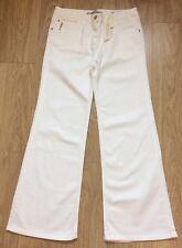 ZARA femme blanc taille haute évasée jeans années 70 blogueurs UK16 EUR44 bnwt ZJ349