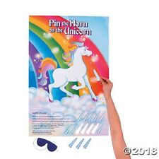 Pin The Horn On The Unicorn Game Rainbow Girls Birthday Party Sheet
