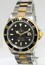 Rolex Submariner Date 18k Yellow Gold/Steel Black Mens 40mm Dive Watch 16613 T