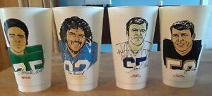 Lot of 4 Vintage 1970s 7-11 NFL Slurpee Cups ~ Mack, Kupp, Rossovich, Hill