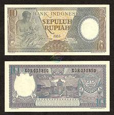 INDONESIA 10 Rupiah, *X* Prefix, REPLACEMENT, 1963, P-89, UNC