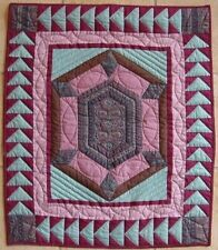 VINTAGE GEOMETRIC  CRIB QUILT WALL HANGER TABLE COVER BEAUTIFUL COLORS