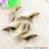 40pcs Vintage Gold High-heeled Shoes Charms Pendants Jewellery Making 51173