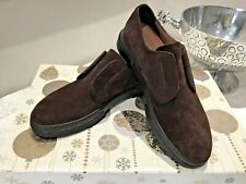 NEW  SALVATORE FERRAGAMO BROWN SUEDE SLIP ON SNEAKERS UK SIZE 7