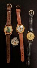 VINTAGE DISNEY Mickey Mouse Wrist Watch Lot 4 pcs RARE DIAMOND CUT GLASS BEZEL+