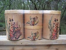 Kanister Set Vintage cheinco Blumen Weidenkorb Rattan Holzmaserung Zinn BO HO versiegelt