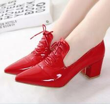 Womens Pointed Toe Block High Heels British Patent Leather Wedding Casual Shoes