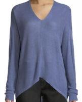 Eileen Fisher Purple Blue Organic Linen Box V Neck Sweater Womens Size M